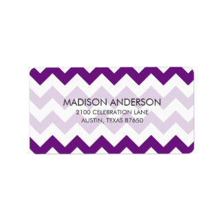 Purple White Zigzag Stripes Chevron Pattern Label