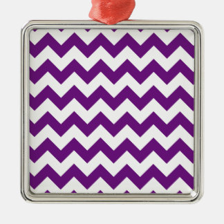 Purple White Zigzag Stripes Chevron Pattern Metal Ornament