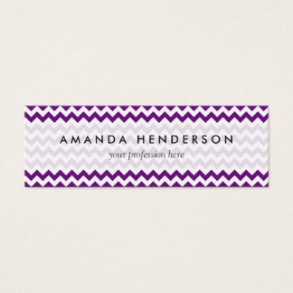 Purple White Zigzag Stripes Chevron Pattern Mini Business Card