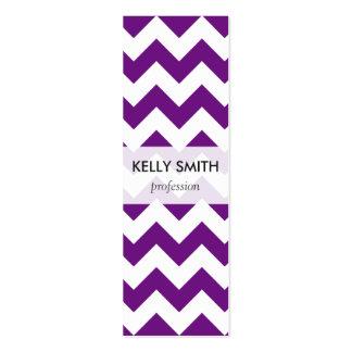 Purple White Zigzag Stripes Chevron Pattern Mini Business Card