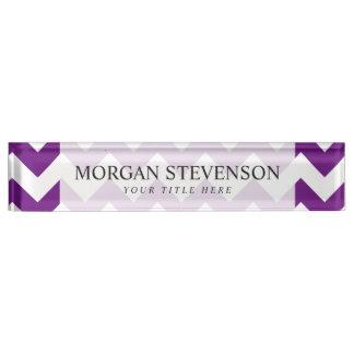 Purple White Zigzag Stripes Chevron Pattern Name Plate