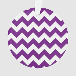 Purple White Zigzag Stripes Chevron Pattern Ornament