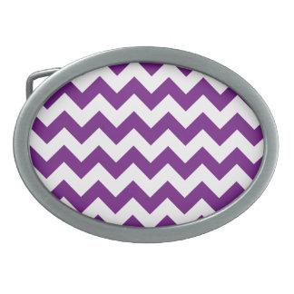 Purple White Zigzag Stripes Chevron Pattern Oval Belt Buckle