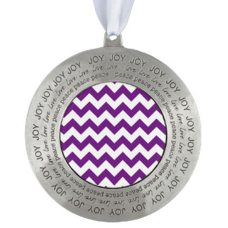 Purple White Zigzag Stripes Chevron Pattern Pewter Ornament