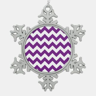 Purple White Zigzag Stripes Chevron Pattern Snowflake Pewter Christmas Ornament