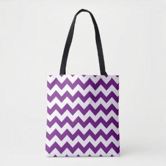Purple White Zigzag Stripes Chevron Pattern Tote Bag