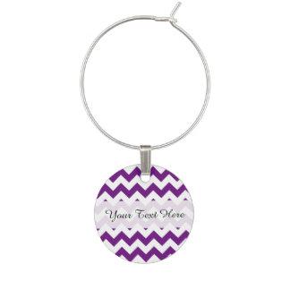Purple White Zigzag Stripes Chevron Pattern Wine Glass Charm