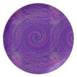 purple whorls party plates