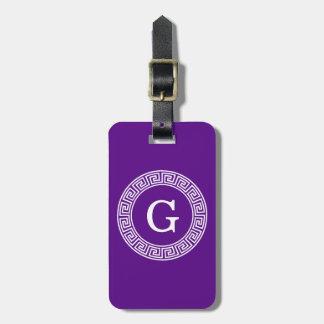 Purple Wht Greek Key Rnd Frame Initial Monogram Bag Tag