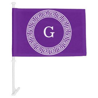 Purple Wht Greek Key Rnd Frame Initial Monogram Car Flag