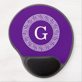 Purple Wht Greek Key Rnd Frame Initial Monogram Gel Mousepad