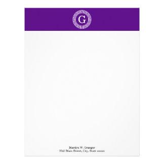 Purple Wht Greek Key Rnd Frame Initial Monogram Letterhead
