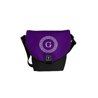 Purple Wht Greek Key Rnd Frame Initial Monogram Messenger Bag
