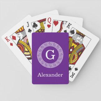 Purple Wht Greek Key Rnd Frame Initial Monogram Playing Cards