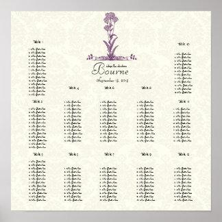 Purple Wild Flower Branch Seating Chart Print