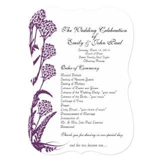 Purple Wild Flower Branch Wedding Program Card