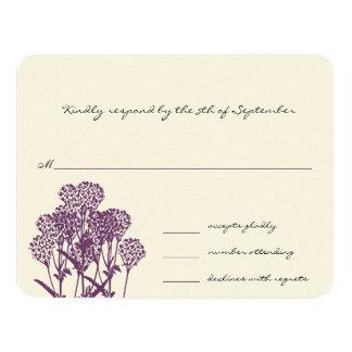 Purple Wild Flower Branch Wedding RSVP Card