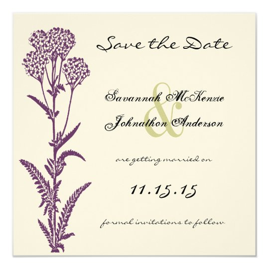 Purple Wild Flower Branch Wedding Save the Date Card