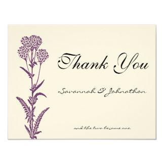 Purple Wild Flower Branch Wedding Thank You Cards