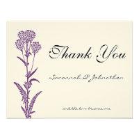 Purple Wild Flower Branch Wedding Thank You Cards Custom Invitations