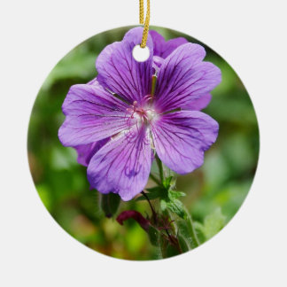 Purple wild  flower ceramic ornament