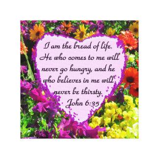 PURPLE WILD FLOWER JOHN 6:35 DESIGN CANVAS PRINT