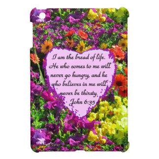 PURPLE WILD FLOWER JOHN 6:35 DESIGN COVER FOR THE iPad MINI
