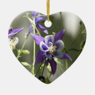 Purple Wild Flowers Ceramic Ornament