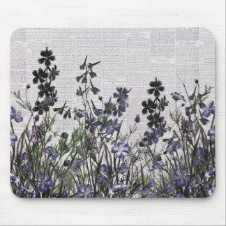 Purple Wild flowers on Vintage Newspaper Mouse Pad