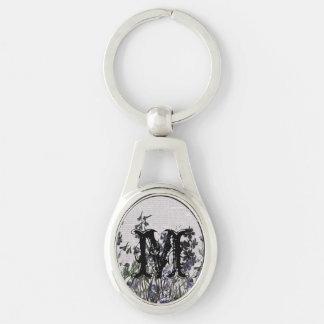 Purple Wild flowers on Vintage Newspaper Silver-Colored Oval Metal Keychain