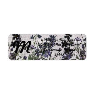 Purple Wild flowers on Vintage Newspaper Return Address Label