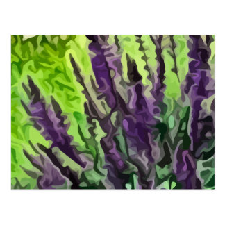 purple wild flowers painting postcard