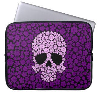Purple Wild Flowers Skull Laptop Sleeves