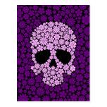 Purple Wild Flowers Skull Postcard