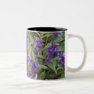 Purple wild flowers Two-Tone coffee mug