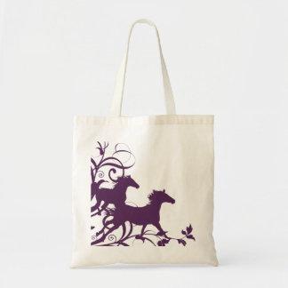 Purple Wild Horses Budget Tote Bag
