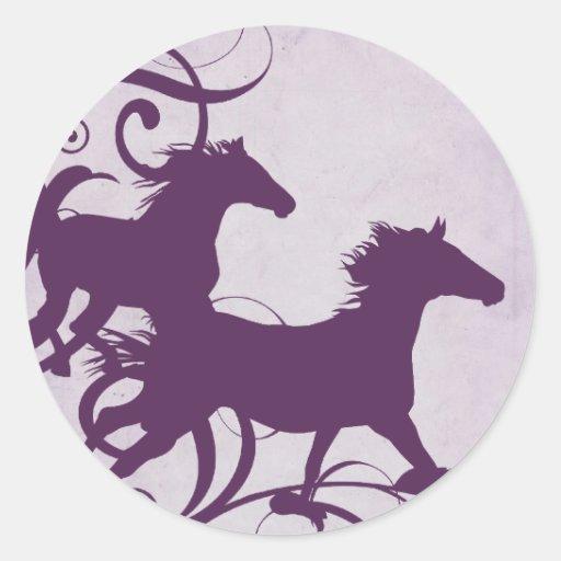 Purple Wild Horses Classic Round Sticker
