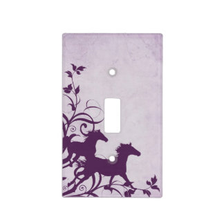 Purple Wild Horses Light Switch Cover