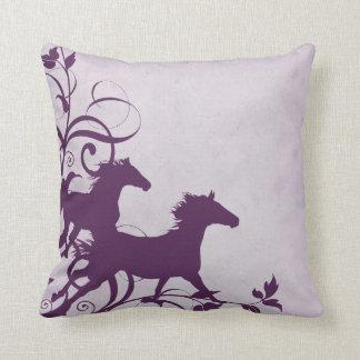 Purple Wild Horses Throw Pillows