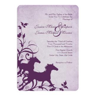 Purple Wild Horses Wedding Invitation