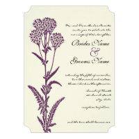 Purple Wildflower Branch Wedding Invitation Custom Invite