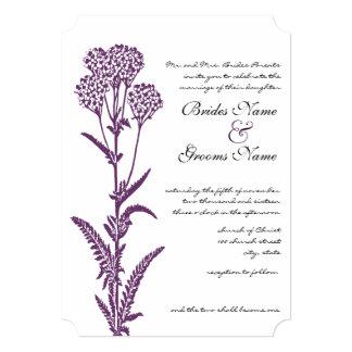 Purple Wildflower Branch Wedding Invitation