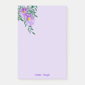 Purple Wildflower Corner Template Post-it Notes