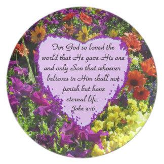 PURPLE WILDFLOWER JOHN 3:16 DINNER PLATE