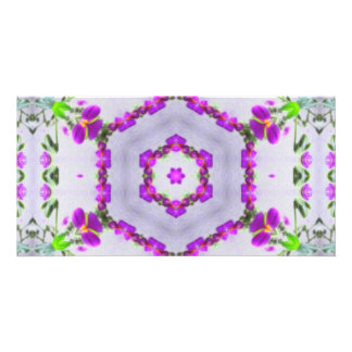 Purple Wildflower Kaleidoscope Art 2 Card