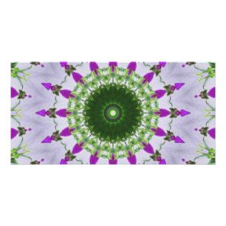 Purple Wildflower Kaleidoscope Art 3 Card