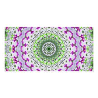 Purple Wildflower Kaleidoscope Art 4 Card