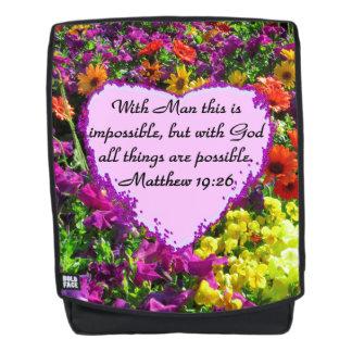 PURPLE WILDFLOWER MATTHEW 19:26 BACKPACK
