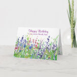 "Purple Wildflower Meadow Happy Birthday Friend Card<br><div class=""desc"">A pretty happy birthday greeting card decorated with a wildflower meadow with purple,  pink and blue flowers painted in watercolor.  You can customize the wording and name to fit your needs.</div>"
