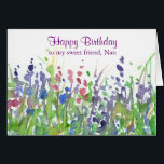 """Purple Wildflower Meadow Happy Birthday Friend Card<br><div class=""""desc"""">A pretty happy birthday greeting card decorated with a wildflower meadow with purple,  pink and blue flowers painted in watercolor.  You can customize the wording and name to fit your needs.</div>"""